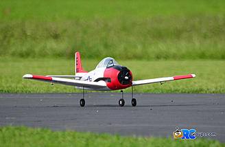 The Parkzone T-28 is lined up and ready to roll!