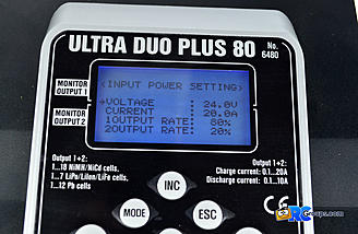 After turning on, you can set your input voltage and desired power split between the 2 channels.