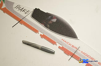 Use a silver sharpie to mark how far the flat CF goes into the fuselage before gluing.