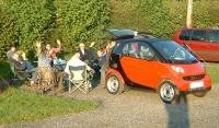 Name: The_Gang.jpg Views: 173 Size: 87.2 KB Description: With The Hogstermobile in shot, Steffi and David  arrive for the veggieburgers and the gang's all here, for a welcome sunny evening barbeque.