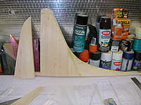 Name: DSCN4368.jpg Views: 272 Size: 283.9 KB Description: Fin sheeting is completed and rough sanded.  Tip blocks added and sanded on fin and rudder.