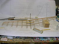 Name: DSCN4374.jpg Views: 239 Size: 173.5 KB Description: Stab rocked over to left side, other bits added and glued up.  Note balsa block supporting right side of stab while working on the left side.