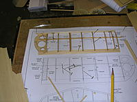 """Name: DSCN5086.JPG Views: 95 Size: 656.7 KB Description: Left wing panel laid out and glued up.  !/16"""" balsa TE, bass/balsa spar and balsa LE.  Sheeting between R1 and R2 to be added along with locating dowel pins in R1."""