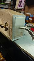 """Name: IMG_20171207_083325009.jpg Views: 26 Size: 188.3 KB Description: Drilled hole thru transom for the rudder tube using drill press to insure a straight fit.  Tube is 1/8"""" brass threaded 6-32 on bottom end. Tube is cut flush with the top of the transom."""