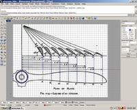 Name: trace in top view.jpg Views: 347 Size: 143.5 KB Description: As a first step, the drawing is loaded into Rhino's Top viewport. With interpolate curve and line commands, the airfoil sections and prop outline are quickly traced. The section lines were copied to help position the ribs.