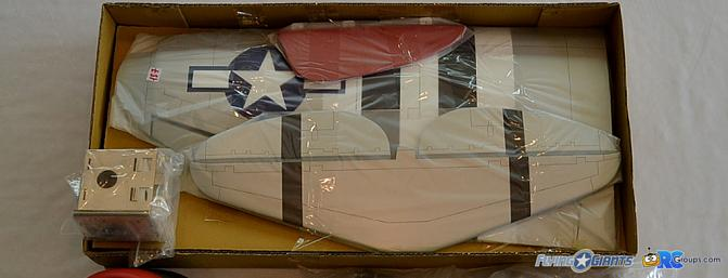 <b>Wings, elevator, rudder, fiberglass parts and hardware were in the bottom portion of the box.</b>