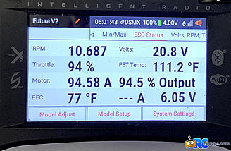 <b>Motor and ESC data display</b>