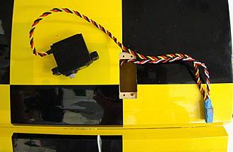 <b>Aileron and flap servo leads taped together.</b>