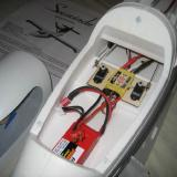 Servos, ESC, and battery layout in the front compartment.