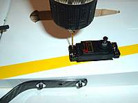 "Name: RUDDER SERVO - ELEVATOR 002.jpg Views: 236 Size: 51.5 KB Description: Drill 1/16"" pilot holes for servo mounting screws."