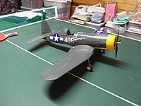 Name: final1.jpg Views: 36 Size: 118.1 KB Description: Corsair still looks as it did after it's second flight. Was just disappointed that it was a handful to fly. All the control linkages in it are also internal, and it also have working flaps. Hopefully I can do better with it next flight.