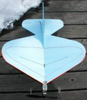 Name: CURVY2.jpg Views: 787 Size: 50.2 KB Description: CURVACIOUS's upper surface has the receiver antenna run in a pattern. Shorter 1mm solid C.F. rods are applied on this side directly over the bottom spars for wing stiffness at minimum weight, CyA'ed in place after 'woodpeckering' film