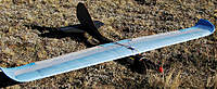 """Name: KF3Pwg18.jpg Views: 319 Size: 126.9 KB Description: 62"""" span MH32/KF3P wing on my sleek fuselage with folding prop. 4mm primary step & 2mm secondary step at rear edge of overlay panels run full-span into the base of the up-swept wing tips. Flying very well- great glide efficiency."""