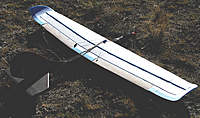 Name: KF3Pwg19.jpg Views: 383 Size: 133.2 KB Description: Rear view of the new wing shows steps nicely. Balsa ailerons & foam sections of the wing trailing edge are thinned extensively for minimum drag. Aileron servo linkage geometry results in good differential.