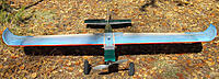 """Name: 59KF3P72.jpg Views: 83 Size: 145.5 KB Description: 59.5"""" span MH32/KF3P wing mounted on a venerable PT Electric fuselage with 100mm 'tundra tires', ready for more test flying from the short grass prairie aerodrome. (A foamie fuselage version is in the development stage.)"""