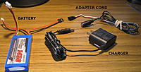 Name: Adapter.jpg Views: 77 Size: 85.9 KB Description: Shows how adapter cable connects charger to battery during charging out of the Tx