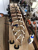 Name: IMG_2419.jpg Views: 61 Size: 3.50 MB Description: Ribs clamped in place and while the glue set I tended the other ribs :)