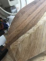 Name: IMG_2587.jpg Views: 29 Size: 3.50 MB Description: Bow detail. As you can see I fitted four boards on each side when I hit the chine line. That was one whole board earlier than expected. I clearly couldn't fit another board in so I just assumed that the mahogany was a bit wider than in the instructions.