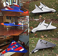 Name: Force One Before and After.jpg Views: 28 Size: 5.02 MB Description: Before & After: Balsa USA Force One Purchased used in February of 2014, I enjoyed refurbishing the Force One, converting it to electric power, and giving it a new Solartex covering scheme.