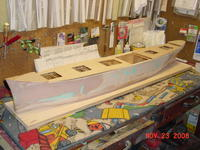Name: DSC00167.jpg Views: 625 Size: 61.9 KB Description: The frame was pinned to a building board to keep the hull straight.