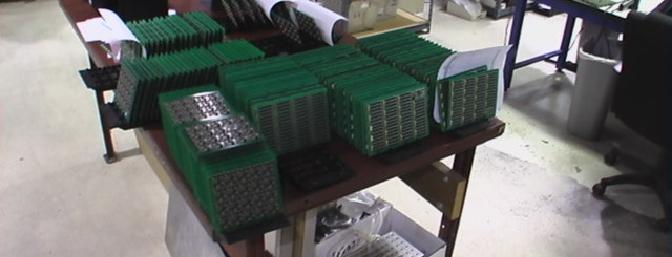 Here are circuit boards ready to be separated and processed.
