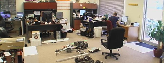 Just an office full of guys playing with radio control stuff. How cool!