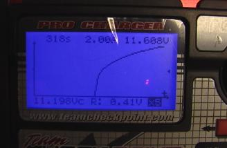 Here is the graph zoomed 5x.  Note the battery resistance and voltage center numbers