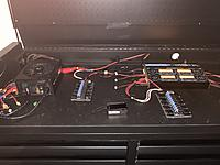 Name: IMG_0163.JPG Views: 45 Size: 3.13 MB Description: Charging Kit  Charsoon Antimatter 1200 W (4x300W chargers) up to 6s Batteries.  Various adapters and connectors.    750W PC PSU repurposed.  Bardwell 4s and 6s parrallel board.  Battery voltage checker.  Asking $175