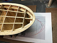 Name: bow.jpg Views: 23 Size: 1.01 MB Description: Sanding the bow to the correct 1950 shape