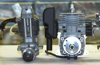 Typical 1.20 four stroke on the left. Zenoah 20EI on the right.