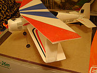 Name: DSC00750.jpg Views: 155 Size: 64.9 KB Description: The extra wing and styrofoam party plate struts weighs very little so the wing loading is a lot lower.  This is my only Parkzone plane that's really slow enough for indoor flying.