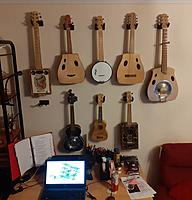 Name: 84153142_10158544762192137_2182317293059440640_o.jpg Views: 15 Size: 96.8 KB Description: My home made ukes and guitars.