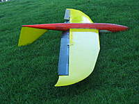 Name: IMG_2607.jpg Views: 141 Size: 63.7 KB Description: Control horns on bottom my preference, elevator/v-tail controls had to go on top to offset weight, I didn't want to add more weight to wing behind CG.