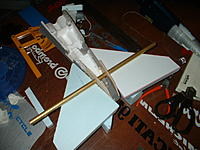 Name: 28-12-2012 (1).jpg Views: 67 Size: 142.0 KB Description: cut the two elevator halves from blue foam.  Once assembled, they'll get glassed.  Have to hog out a fair amount of foam.  Not much room for rudder control.