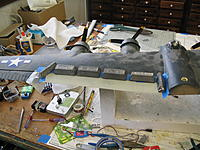 Name: Flaps 008.jpg Views: 77 Size: 271.3 KB Description: 20 thou fiberglass replacement upper wing surface, gorilla glued on.