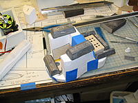 """Name: IMG_0017.jpg Views: 184 Size: 252.6 KB Description: Foam nose being glued to the firewall/battery box. The array of 1/4"""" holes in the bottom of the battery box are air outlets which should allow airflow through the rad outlet"""