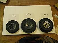 "Name: Wheels 1.jpg Views: 212 Size: 189.3 KB Description: L=>R FMS Fw 190 wheel 3.5"" , Dubro inflatable wheel 4"", Sullivan Skylite 4"""