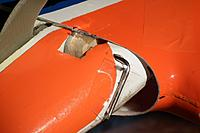 Name: DSCF2472.jpg Views: 390 Size: 174.6 KB Description: Lower rudder hinging detail, showing lower pin taped in place.