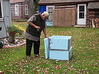 Name: 100_3968.jpg Views: 80 Size: 140.5 KB Description: Conehead and his Flutter-By boxes in the back yard. The front yard is towards the lake. It is a lake thing they say.