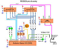 Name: rx5808-pro-diversity-schematic-simple.jpg Views: 4690 Size: 227.4 KB Description: rx5808-pro-diversity  Simple Arduino Nano schematic. Added some LEDs, one more rx5808 receiver, and a 4066 digital switch.
