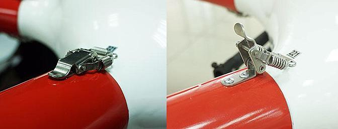 可以通过转动来锁定盖子,并且用快速锁定钩锁定臂。 第6张