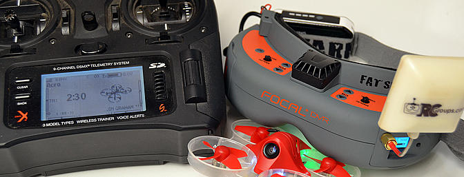 I use this gear with my Inductrix FPV +. My trusty DX9 and my favorite goggles, the Focal DVR from Horizon.