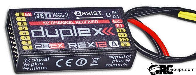 Jeti Duplex EX R12 REX Assist EPC 2.4GHz Receiver w/Telemetry, Stabilization