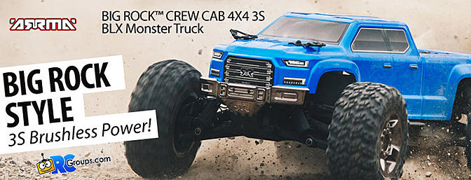 1/10 BIG ROCK CREW CAB 4x4 3S BLX Brushless RTR, Blue (ARA102711)