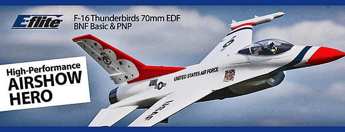 F-16 Thunderbirds 70mm EDF BNF Basic with AS3X and SAFE Select (EFL7850)