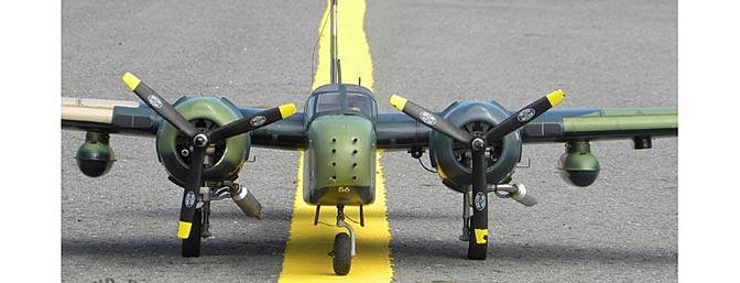 The VQ COUNTER INVADER model is an exciting replica of the original A-26K. Its impressive 69-inch wingspan results in a great flying model that is easy to see and fly, but because of its ONE-piece wing, the model breaks down in cars.