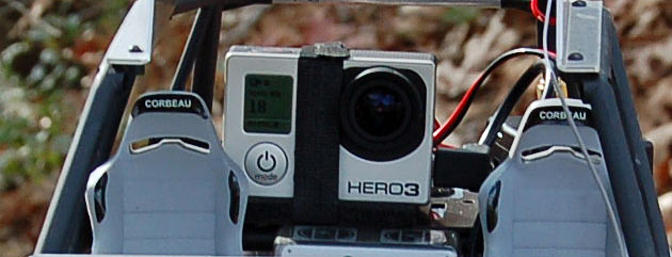 The GoPro Hero 3 mounted on the ReadyMadeRC Wraith deck.