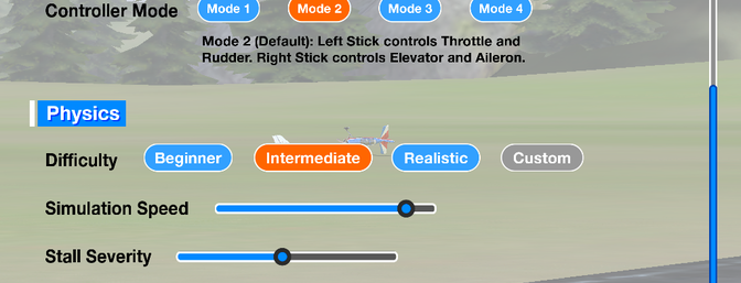 There are many settings that you can tweak to make RealFlight mobile your own.