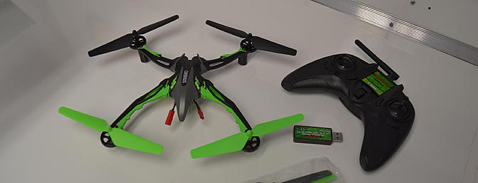 This quadcopter is fully assembled and ready to go. There is nothing you need to buy. Gyros stabilize your heli in pitch, yaw, and roll plus compensating for unwanted motion on any axis.