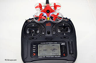 The DX9 might be overkill for the diminutive Inductrix FPV + but I like having all my models on one radio.